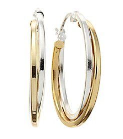 Designs by FMC 18K Gold-Plated and Sterling Silver Double Row Round Hoop Earrings