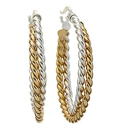 Designs by FMC 18K Gold-Plated and Sterling Silver Twisted Double Row Round Hoop Earrings