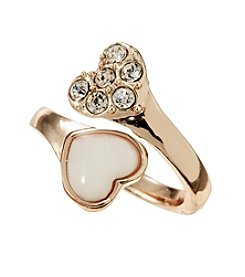 Guess Rose Goldtone Four Double Heart Bypass Ring