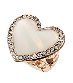 Guess Rose Goldtone Stretch Mother-of-Pearl Heart Ring