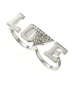 Guess Silvertone Two-Finger Love Ring