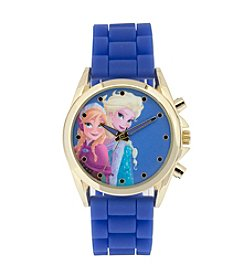 Accutime Youth Frozen® Elsa and Anna Goldtone Frosted Blue Silicone Strap Watch