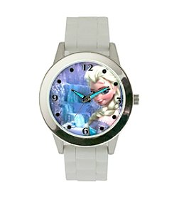 Accutime Youth Frozen® Elsa Silvertone White Silicone Watch