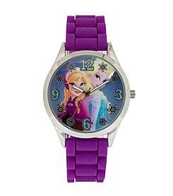 Accutime Youth Frozen® Elsa and Anna Silvertone Purple Silicone Strap Watch