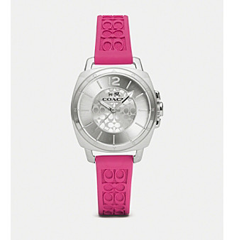 COACH WOMEN'S 34mm BOYFRIEND SMALL PINK SILICONE RUBBER STRAP WATCH