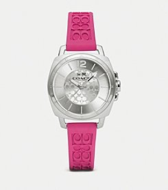 COACH BOYFRIEND SMALL PINK SILICONE RUBBER STRAP WATCH