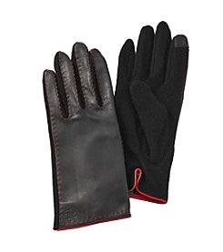 Lauren Ralph Lauren Cut and Sew Leather Back Gloves