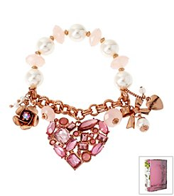 Betsey Johnson® Boxed Faceted Bead Heart Multi Charm Half Stretch Bracelet