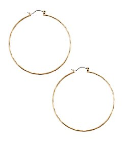 Lucky Brand® Large Goldtone Hammered Hoop Earrings