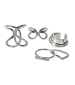 Steve Madden Silvertone Ring Set