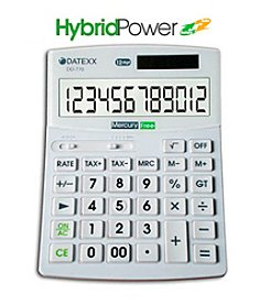 Datexx® Hybrid Power 12-Digit  Desktop Calculator