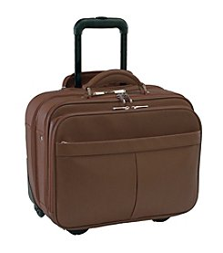 Royce® Leather Pebbled Rolling Laptop Briefcase Travel Bag