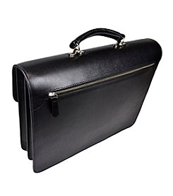 Royce® Leather Executive Saffiano Double Gusset Laptop Briefcase