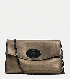 COACH TURNLOCK CLUTCH IN METALLIC LEATHER