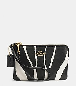 COACH SMALL L-ZIP WRISTLET IN ZEBRA EMBOSSED LEATHER