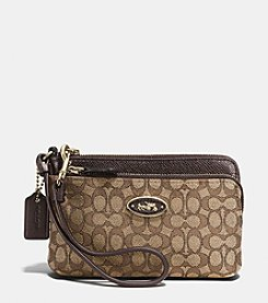 COACH DOUBLE ZIP WRISTLET IN SIGNATURE JACQUARD