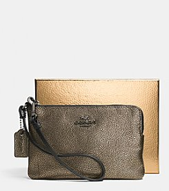COACH SMALL L-ZIP WRISTLET IN METALLIC LEATHER