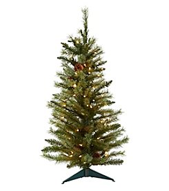Nearly Natural® 3' Christmas Tree with Pine Cones and Clear Lights