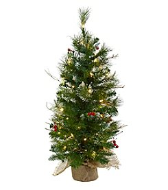 Nearly Natural® 3' Christmas Tree with Clear Lights, Berries and Burlap Bag