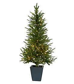 Nearly Natural® 4.5' Christmas Tree with Clear Lights and Decorative Planter