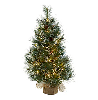 Nearly Natural® 3' Christmas Tree with Clear Lights,  Frosted Tips,  Pine Cones and Burlap Bag
