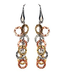 Athra Tri-Color Sterling Silver Textured Drop Earrings