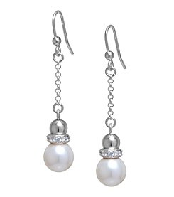 Athra Sterling Silver Pearl and Cubic Zirconia Drop Earrings