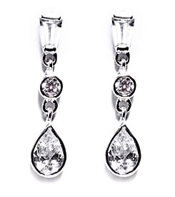 Athra Sterling Silver Cubic Zirconia Drop Earrings