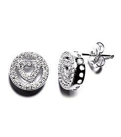 Athra Sterling Silver Cubic Zirconia Open Circle with Heart Stud Earrings