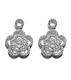 Athra Sterling Silver Cubic Zirconia Flower Drop Earrings