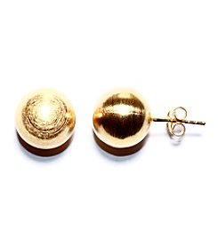 Athra Gold-Plated Sterling Silver Matte Finish Ball Stud Earrings