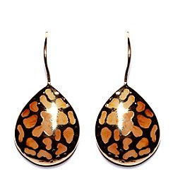 Athra Gold-Plated Sterling Silver with Resin Tear Drop Filigree Earrings