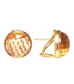 Athra Gold-Plated Sterling Silver Faceted Champagne Glass Stud Earrings