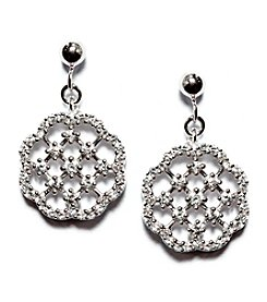 Athra Sterling Silver Cubic Zirconia Flower Net Drop Earrings