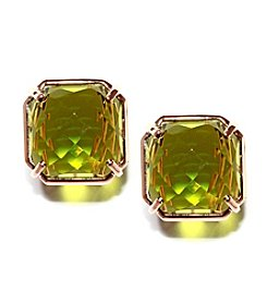 Athra Rose Gold-Plated Sterling Silver Faceted Green Resin Stud Earrings
