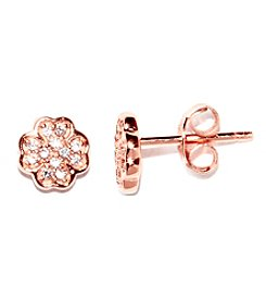 Athra Rose Gold-Plated Sterling Silver Cubic Zirconia Clover Stud Earrings