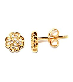 Athra Gold-Plated Sterling Silver Cubic Zirconia Clover Stud Earrings