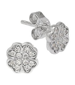 Athra Sterling Silver Cubic Zirconia Clover Stud Earrings