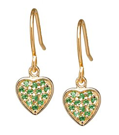 Athra Gold-Plated Sterling Silver Emerald Cubic Zirconia Heart Earrings