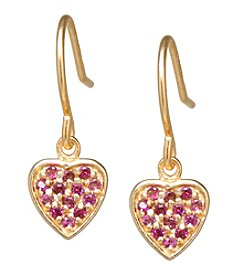 Athra Gold-Plated Sterling Silver Red Cubic Zirconia Heart Earrings