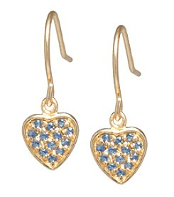 Athra Gold-Plated Sterling Silver Sapphire Cubic Zirconia Heart Earrings