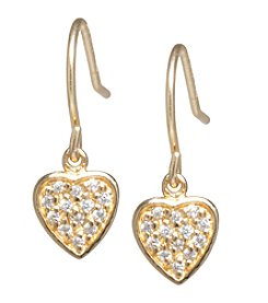 Athra Gold-Plated Sterling Silver Cubic Zirconia Heart Earrings