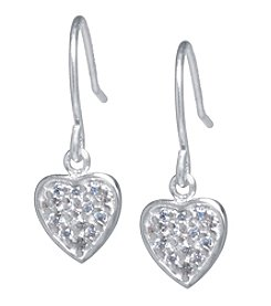 Athra Sterling Silver Cubic Zirconia Heart Earrings