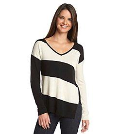 August Silk® Long-Sleeved V-Neck Sweater
