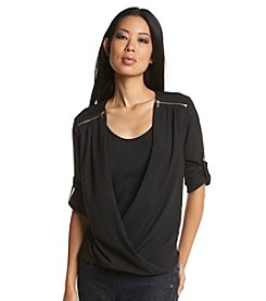 Calvin Klein Drapefront Top With Zipper Details