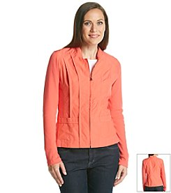 Laura Ashley® Petites' Long Sleeve Mixed Media Jacket