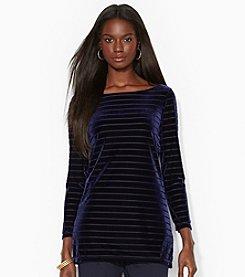 Lauren Ralph Lauren® Petites' Stretch-Velvet Striped Top