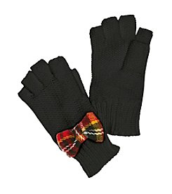 Betsey Johnson® Plaid Bow Fingerless Gloves