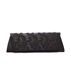 La Regale® Satin Scroll Beaded Clutch
