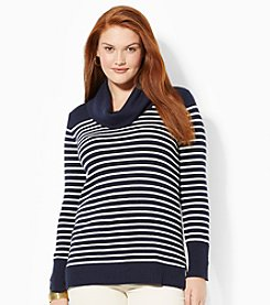 Lauren Ralph Lauren® Plus Size Striped Wool-Blend Cowlneck Sweater